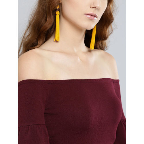 Veni Vidi Vici Women Burgundy Solid Cropped Bardot Top