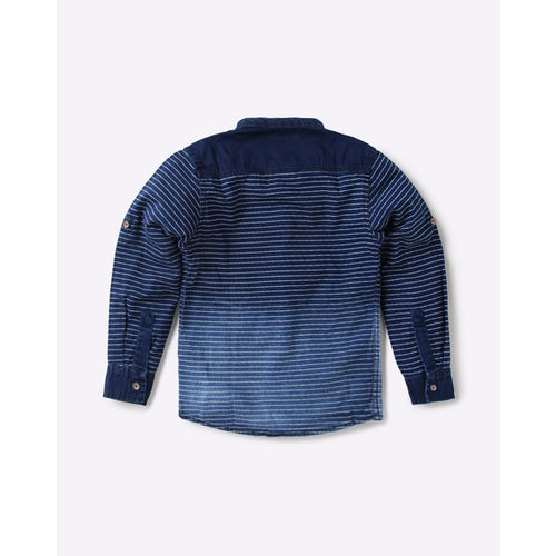 TALES & STORIES Striped Shirt with Band Collar