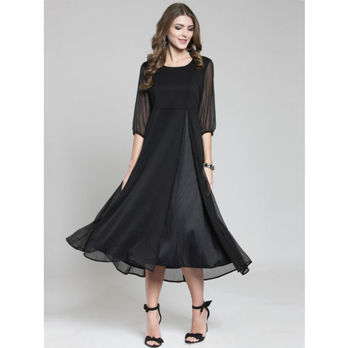 Sera Women Black Solid Fit and Flare Dress