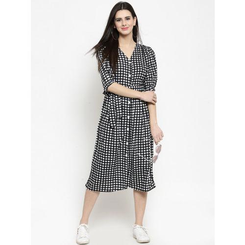 Sera Women Black Checked A-Line Dress