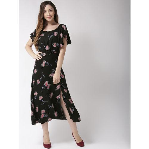 Sera Women Black & Pink Printed Empire Dress
