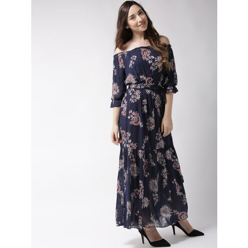 Sera Women Navy Blue & Off-White Printed Maxi Dress