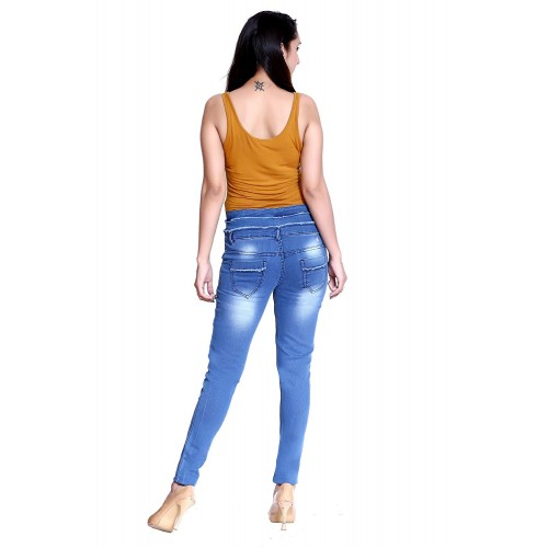 Elendra Mid Blue Denim Ripped Casual Ankle Length Stretchable Jeans
