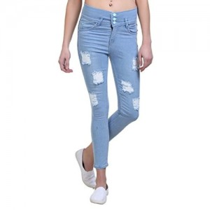 ESSENCE ICY Blue Denim Ripped Stylish Jeans for Women's
