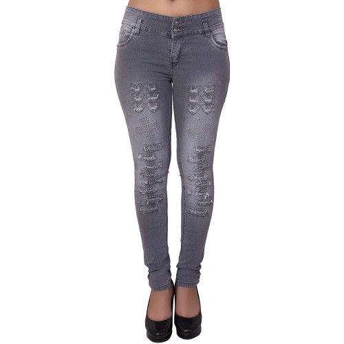 NEON-9 Grey Denim Ripped SLIM FIT DISTRESSED DENIM JEANS