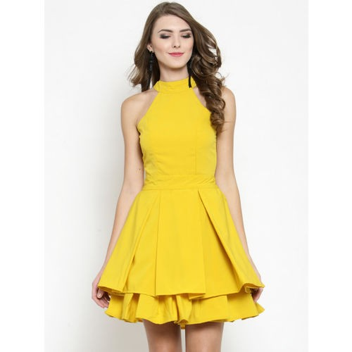 Sera Yellow Polyester Solid Fit and Flare Dress