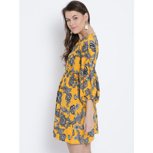 Sera Women Yellow & Black Printed Fit & Flare Dress