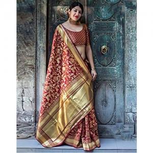DesiButik's Party Wear Divine Maroon Banarasi Silk Saree