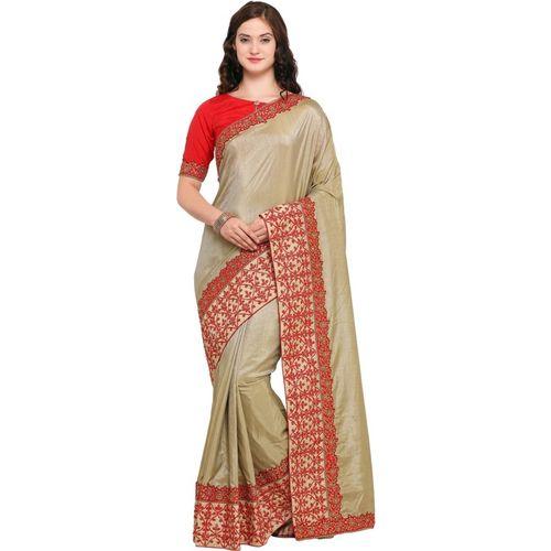 1bbd1979634e05 Buy Desi Butik Embroidered Fashion Silk Saree(Beige) online | Looksgud.in