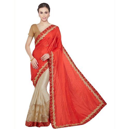 c09d7fe443bfb5 Buy Desi Butik Embroidered Fashion Silk, Lycra Saree(Orange, Beige) online  | Looksgud.in