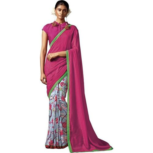 Desi Butik Floral Print Fashion Cotton, Silk Saree(Pink)