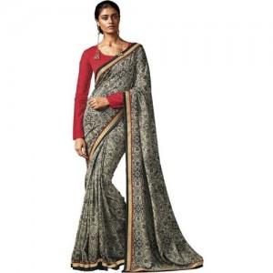 Desi Butik Floral Print Fashion Cotton, Silk Saree(Multicolor)