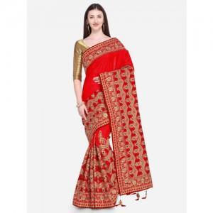 Indian Women Red & Golden-Coloured Satin Embellished Saree