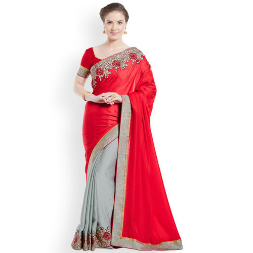 Indian Women Red & Grey Pure Georgette Embellished Saree