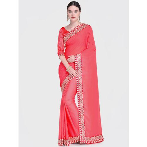 Indian Women Pink Solid Pure Chiffon Saree