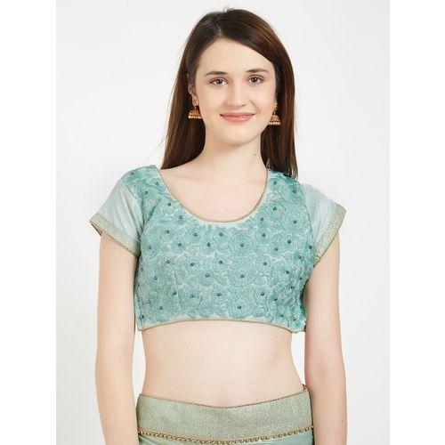 Indian Women Green Embellished Jacquard Saree