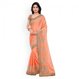 Indian Women Peach-Coloured Georgette and Chiffon Embellished Saree