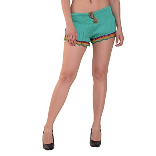 MansiCollections Green Viscose Solid Smocking Shorts for Women