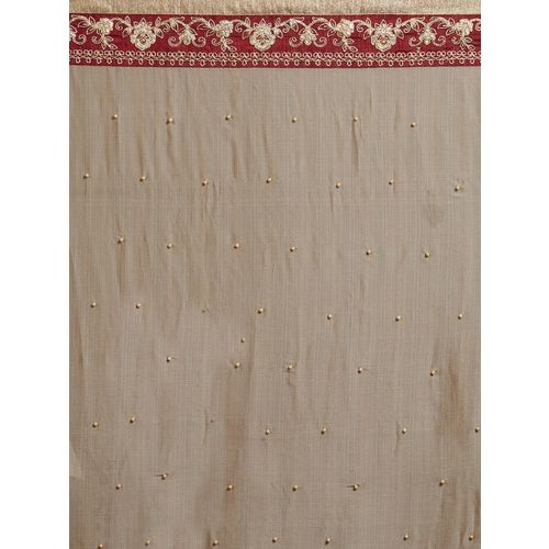 Indian Women Brown & Maroon Pure Chiffon Embellished Saree