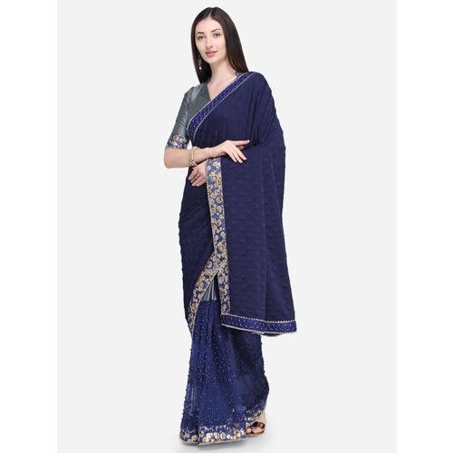 8de162da620 Buy Indian Women Navy Blue Printed Pure Georgette Saree online ...