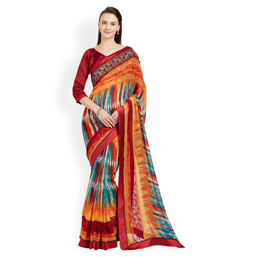 Indian Women Multicoloured Printed Pure Georgette Saree