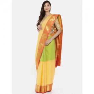 The Chennai Silks Classicate Yellow & Green Pure Silk Woven Design Saree