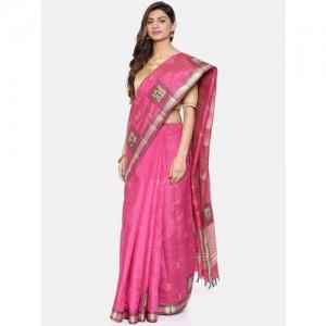 The Chennai Silks Classicate Magenta Jute Cotton Embroidered Banarasi Saree