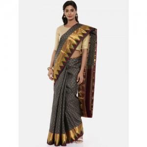 The Chennai Silks Grey Pure Silk Woven Design Kanjeevaram Saree