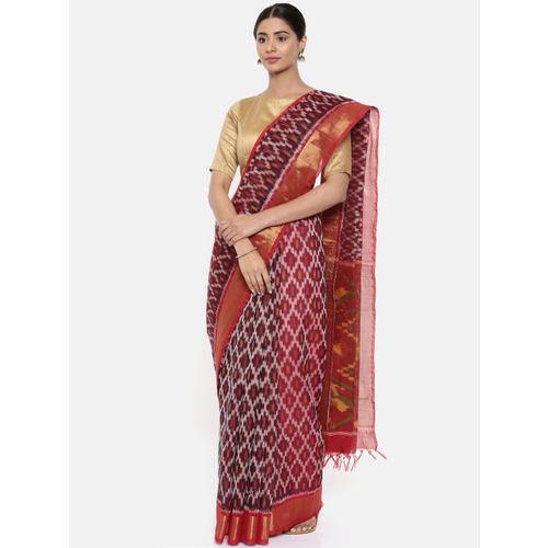 The Chennai Silks Burgundy Silk Cotton Ikat Design Saree