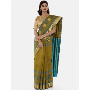 The Chennai Silks Olive Green Pure Silk Woven Design Kanjeevaram Saree