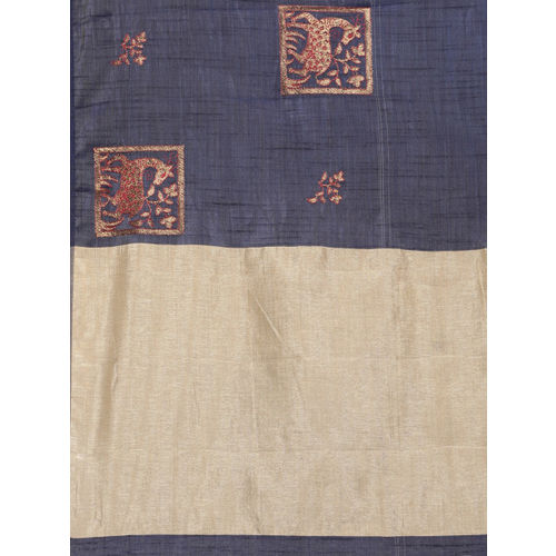 The Chennai Silks Classicate Navy Blue Jute Cotton Embroidered Banarasi Saree