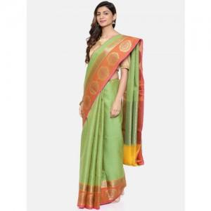 The Chennai Silks Classicate Olive Green Organza Woven Design Banarasi Saree
