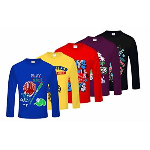 66dfa1b6657eb Buy Kiddeo Boy s Cotton Full Sleeves T-Shirt - Pack of 5 online ...