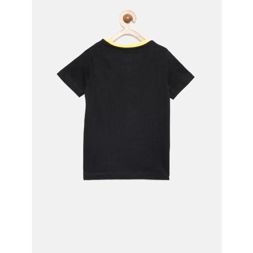 Allen Solly Junior Boys Black Printed Round Neck T-shirt