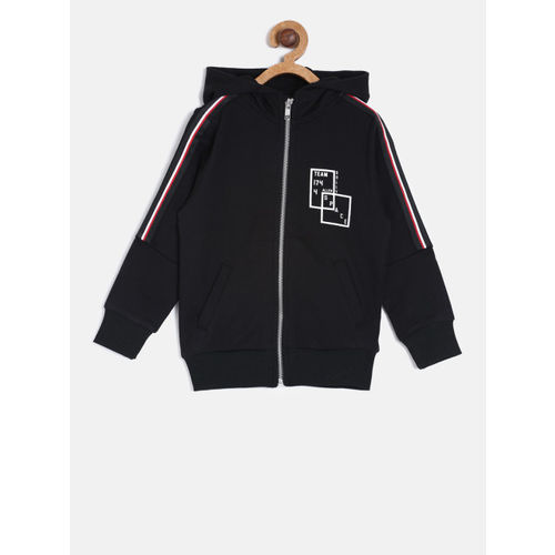 1fe556b7d Buy Allen Solly Junior Boys Black Solid Hooded Sweatshirt online ...