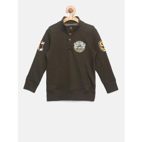382964b7c Buy Allen Solly Junior Boys Olive Green Solid Sweatshirt online ...