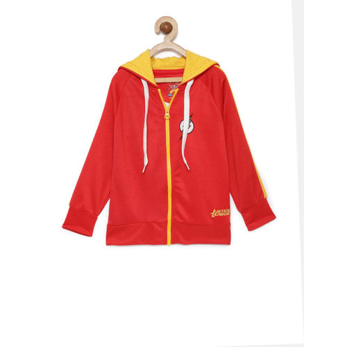 Allen Solly Junior Boys Red Printed Hooded Sweatshirt
