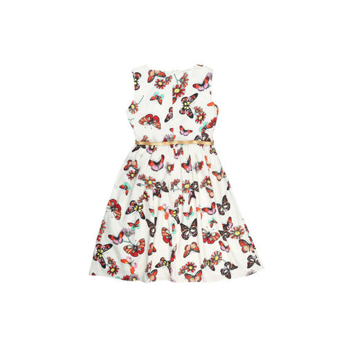 Allen Solly Junior Girls White Printed Fit and Flare Dress