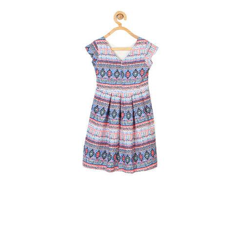 Allen Solly Junior Girls White Printed A-Line Dress