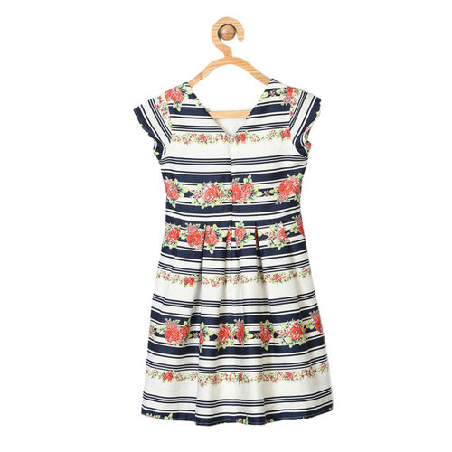 Allen Solly Junior Girls White Printed A-Line Dress