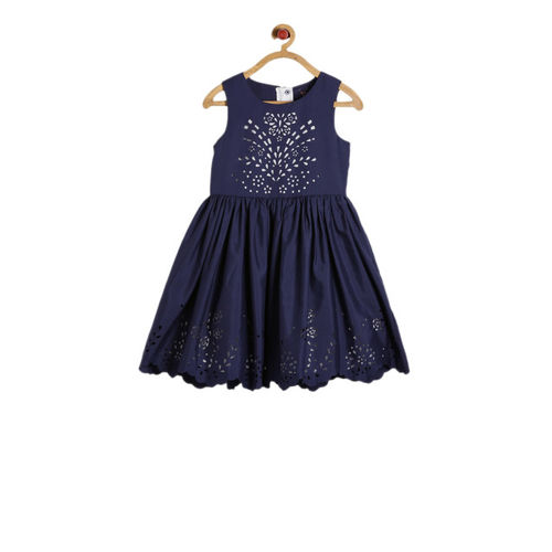Allen Solly Junior Girls Navy Blue Self Design Fit and Flare Dress