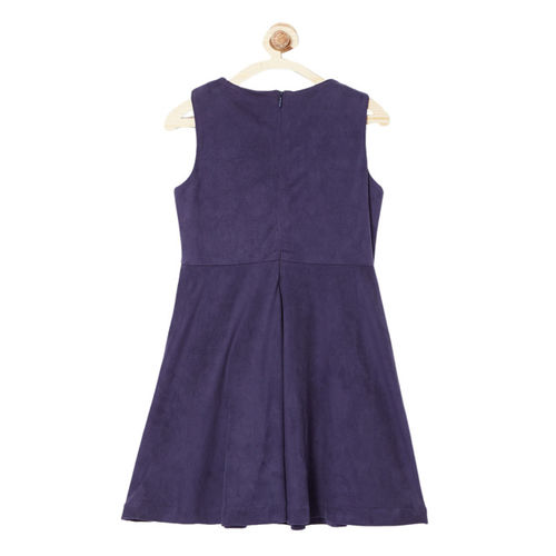 Allen Solly Junior Navy Blue Solid A-Line Dress