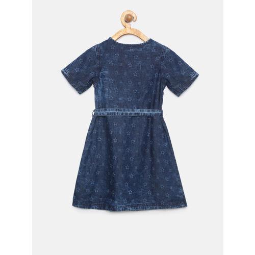 Allen Solly Junior Girls Navy Blue Fit and Flare Denim Dress
