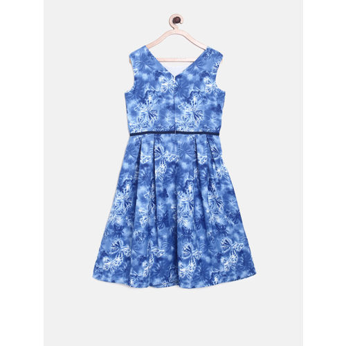 Allen Solly Junior Girls Blue Printed A-Line Dress