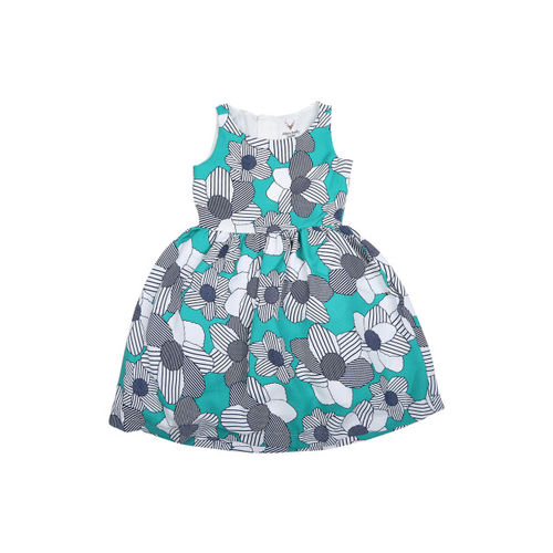 Allen Solly Junior Girls Blue Printed Fit and Flare Dress