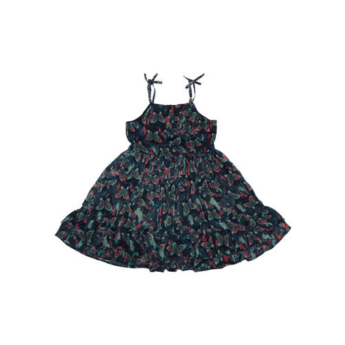 Allen Solly Junior Girls Navy Blue Printed Fit and Flare Dress