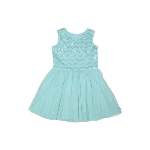 Allen Solly Junior Girls Blue Embellished Fit and Flare Dress
