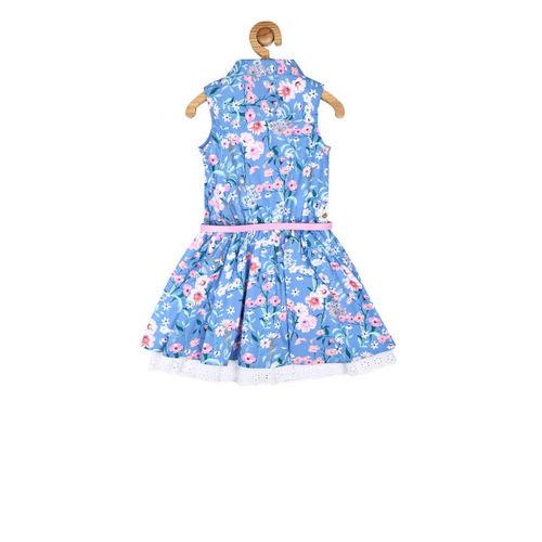 Allen Solly Junior Girls Blue Printed Shirt Dress