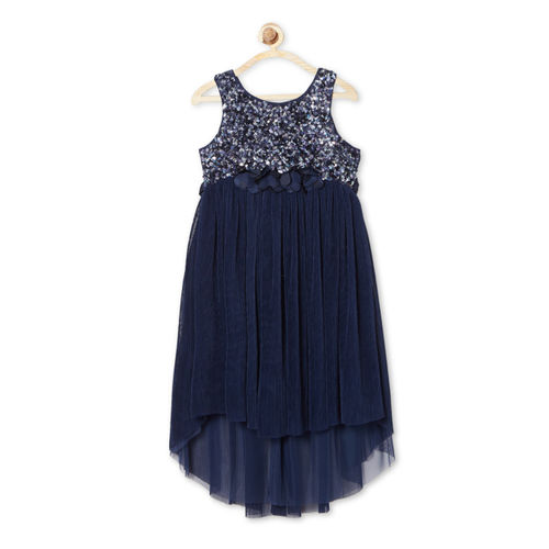 Allen Solly Junior Navy Blue Embellished A-Line Dress