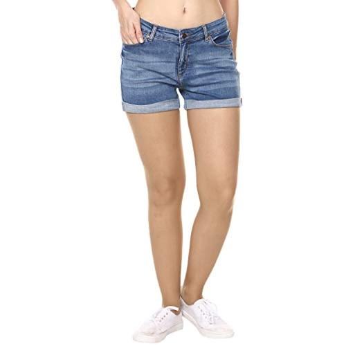 Broadstar Blue Denim Solid Premium Skinny Casual Shorts for Women